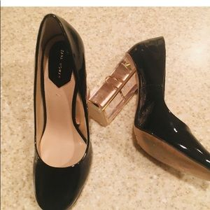 ✨🌹Zara Woman Black Patent Pumps Lucite Heel🌹✨ 6